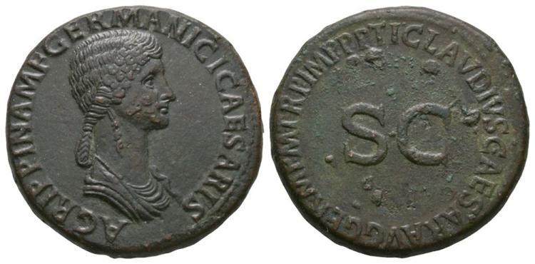 Ancient Roman Imperial Coins - Agrippina Senior under Claudius - SC Sestertius