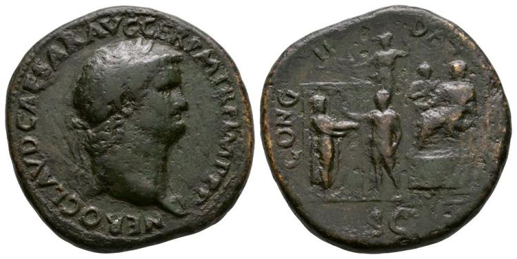 Ancient Roman Imperial Coins - Nero - Emperor on Platform Sestertius