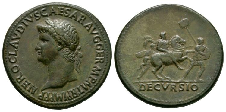 Ancient Roman Imperial Coins - Nero - Emperor Riding Sestertius