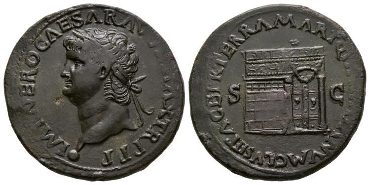 Ancient Roman Imperial Coins - Nero - Temple of Janus Sestertius
