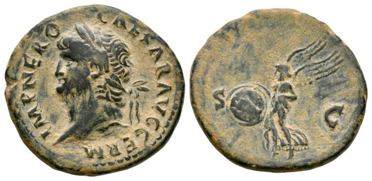 Ancient Roman Imperial Coins - Nero - Victory As