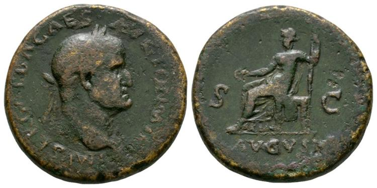 Ancient Roman Imperial Coins - Galba - Livia Seated Sestertius
