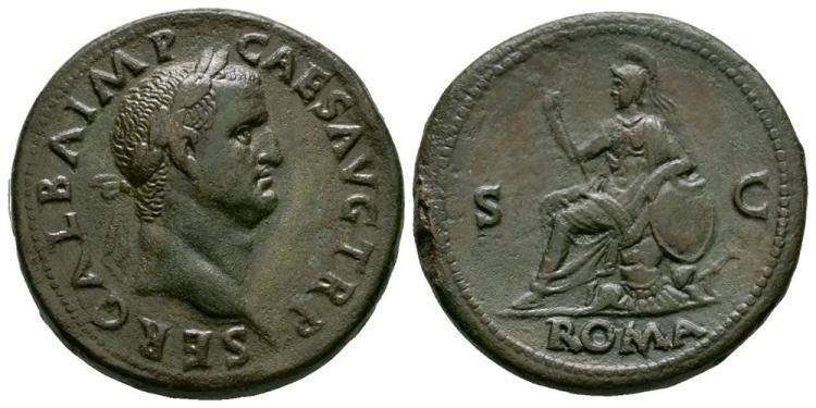 Ancient Roman Imperial Coins - Galba - Roma Sestertius
