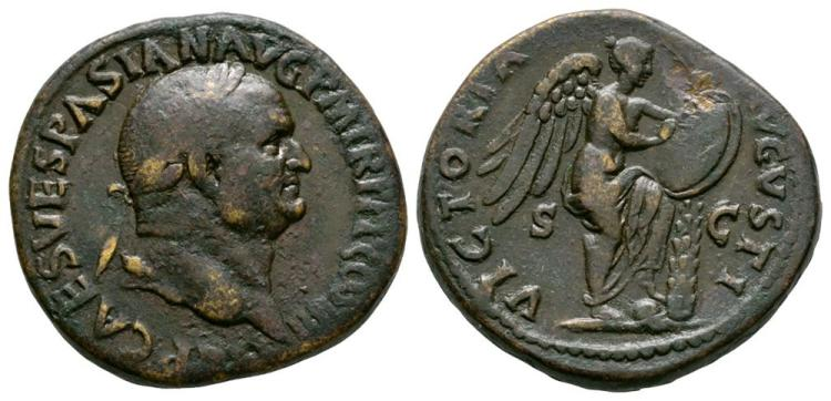 Ancient Roman Imperial Coins - Vespasian - Victory Sestertius