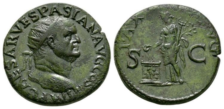 Ancient Roman Imperial Coins - Vespasian - Pax Dupondius