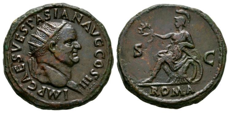 Ancient Roman Imperial Coins - Vespasian - Roma Dupondius