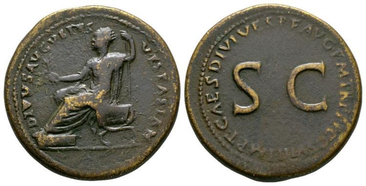 Ancient Roman Imperial Coins - Titus (honouring Vespasian) - Vespasian Seated Sestertius