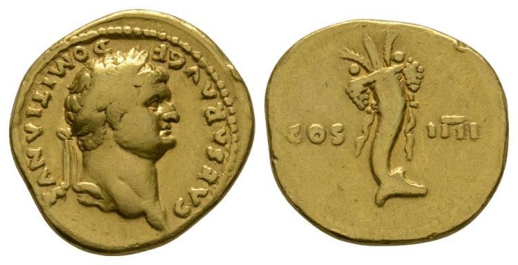 Ancient Roman Imperial Coins - Domitian - Gold Cornucopia Aureus