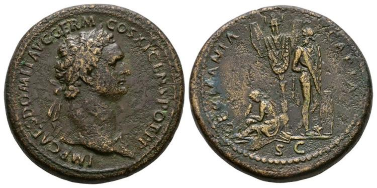 Ancient Roman Imperial Coins - Domitian - Germania Capta Sestertius