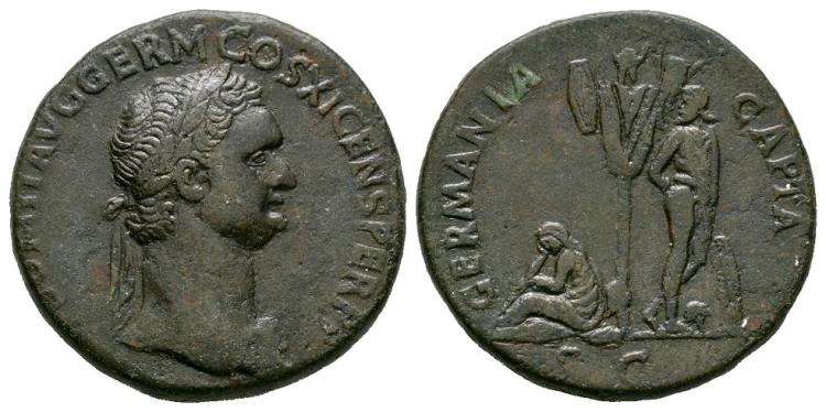 Ancient Roman Imperial Coins - Domitian - Germania Sestertius