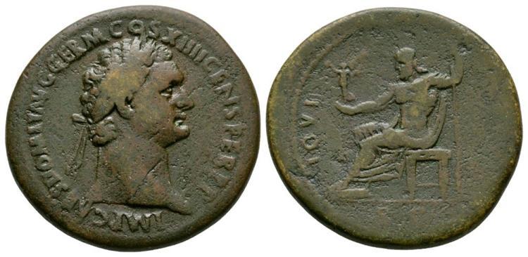 Ancient Roman Imperial Coins - Domitian - Jupiter Sestertius
