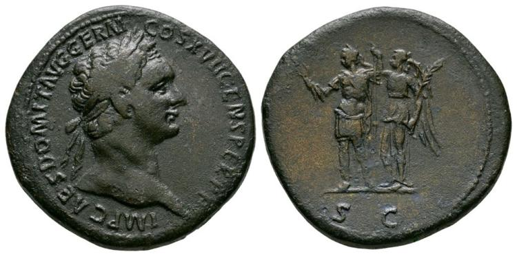 Ancient Roman Imperial Coins - Domitian - Emperor Crowned Sestertius