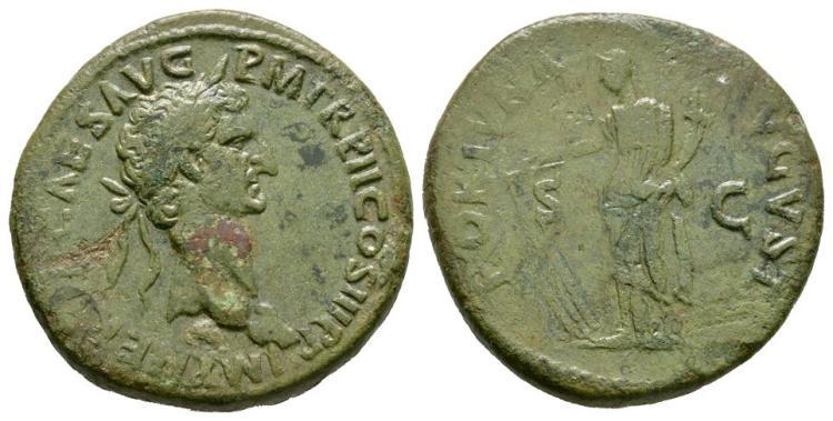 Ancient Roman Imperial Coins - Nerva - Fortuna Sestertius