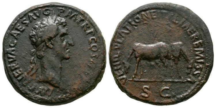 Lot Withdrawn - Nerva - Mules Sestertius