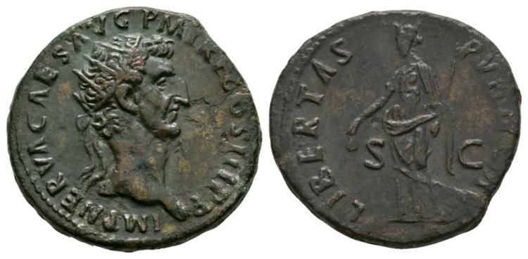 Ancient Roman Imperial Coins - Nerva - Libertas Dupondius
