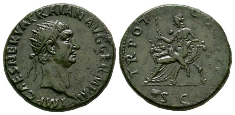 Ancient Roman Imperial Coins - Trajan - Abundantia Dupondius