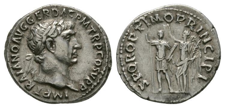 Ancient Roman Imperial Coins - Trajan - Victory crowning Emperor Denarius