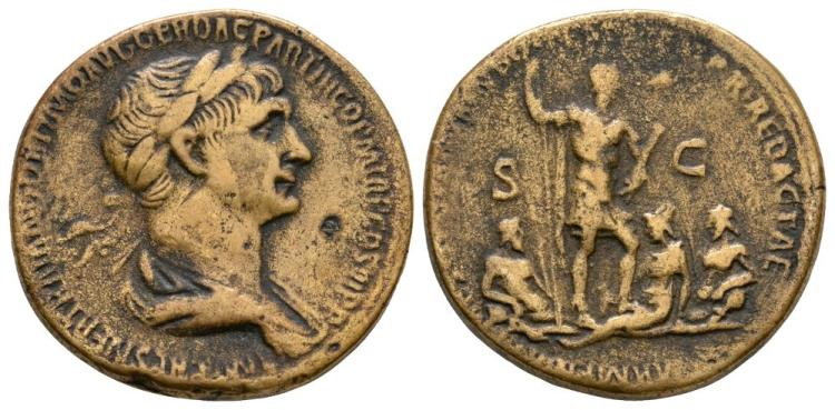 Ancient Roman Imperial Coins - Trajan - Rivers Sestertius
