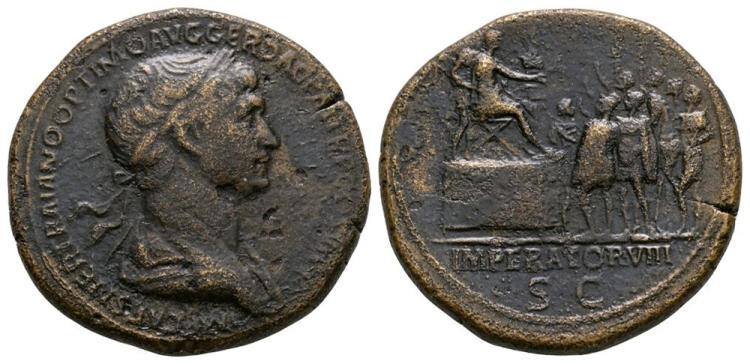 Ancient Roman Imperial Coins - Trajan - Emperor Addressing Soldiers Sestertius