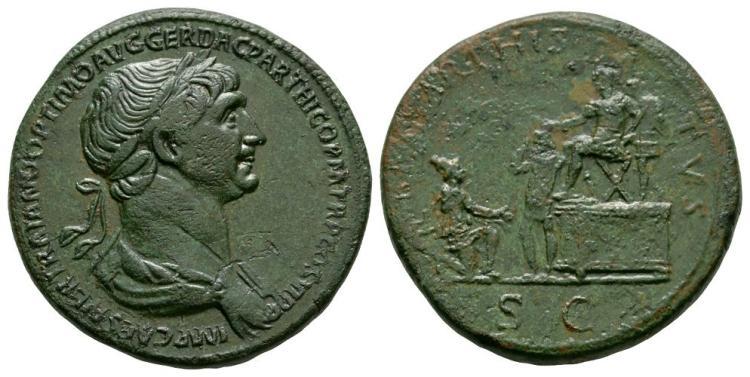Ancient Roman Imperial Coins - Trajan - Emperor Presenting Parthamaspates Sestertius