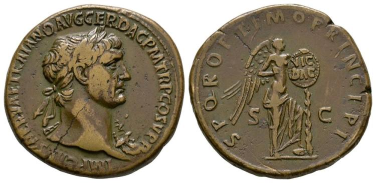 Ancient Roman Imperial Coins - Trajan - Victory Sestertius
