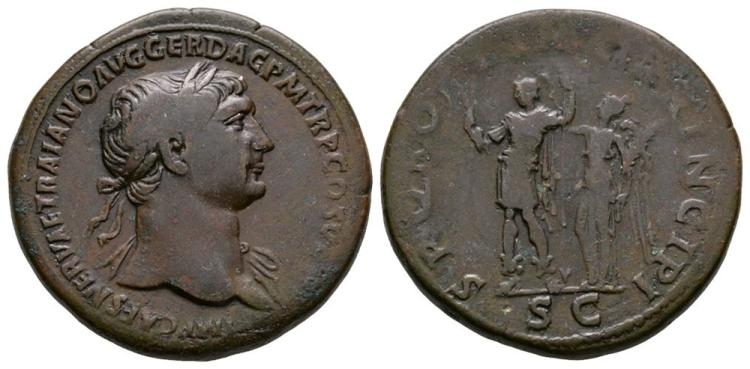 Ancient Roman Imperial Coins - Trajan - Emperor Crowned Sestertius