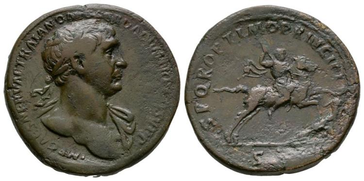 Ancient Roman Imperial Coins - Trajan - Emperor Trampling Dacian Sestertius