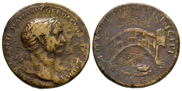 Ancient Roman Imperial Coins - Trajan - Bridge Sestertius