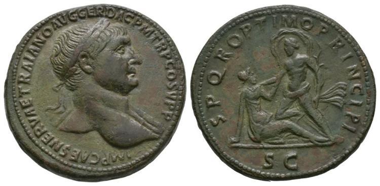 Ancient Roman Imperial Coins - Trajan - Danube with Dacia Sestertius