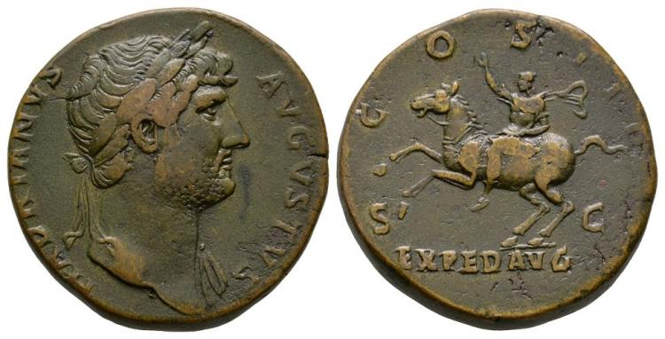 Ancient Roman Imperial Coins - Hadrian - Emperor Riding Sestertius