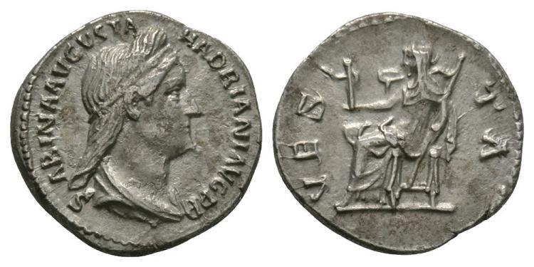 Ancient Roman Imperial Coins - Sabina - Vesta Denarius