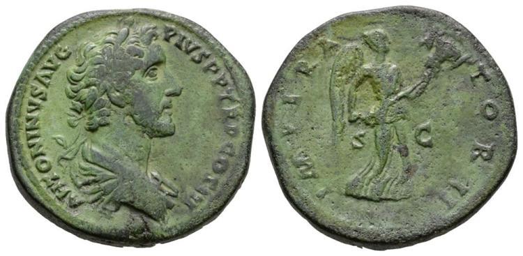 Ancient Roman Imperial Coins - Antoninus Pius - Victory Sestertius