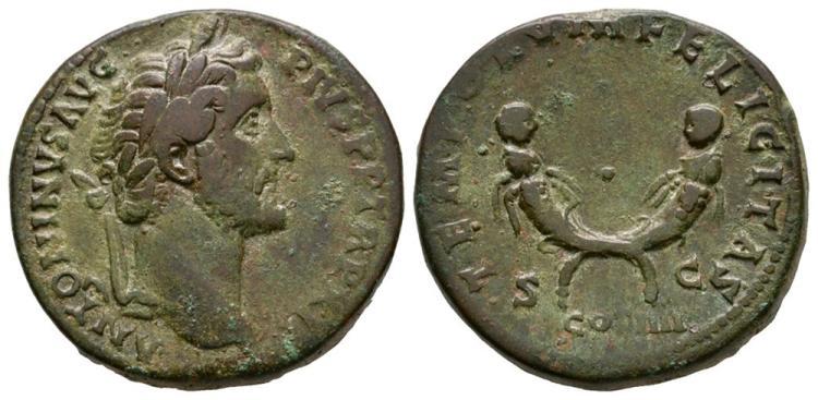 Ancient Roman Imperial Coins - Antoninus Pius - Cornucopiae Sestertius