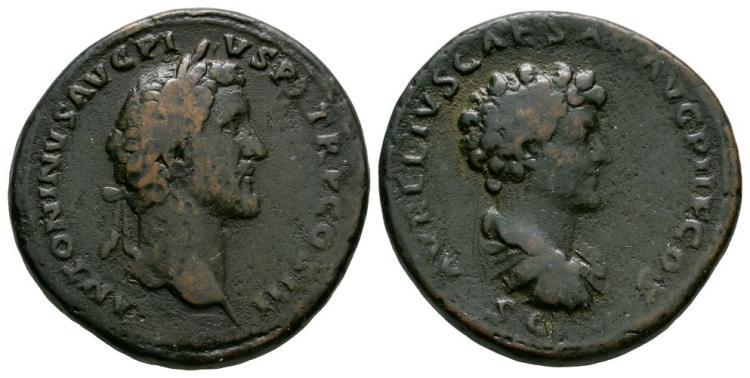 Ancient Roman Imperial Coins - Antoninus Pius with Marcus Aurelius - Double Portrait Sestertius