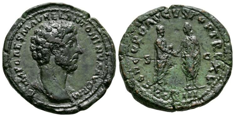 Ancient Roman Imperial Coins - Marcus Aurelius - Emperor and Lucius Verus Sestertius