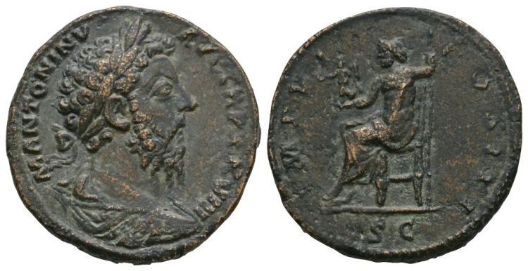 Ancient Roman Imperial Coins - Marcus Aurelius - Jupiter Sestertius