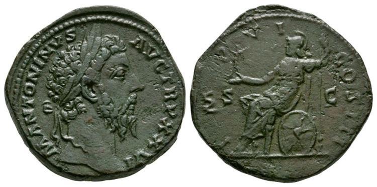 Ancient Roman Imperial Coins - Marcus Aurelius - Roma Sestertius
