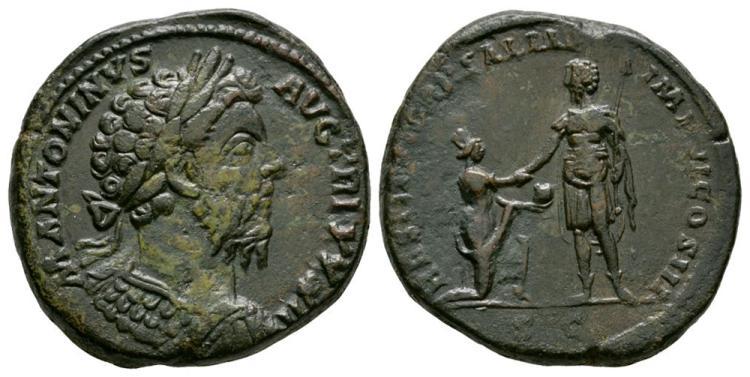 Ancient Roman Imperial Coins - Marcus Aurelius - Emperor Standing Sestertius