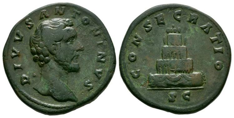 Ancient Roman Imperial Coins - Divus Antoninus Pius (under Marcus Aurelius) - Pyre Sestertius