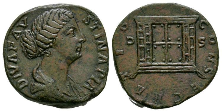 Ancient Roman Imperial Coins - Faustina II - Altar Enclosure Sestertius