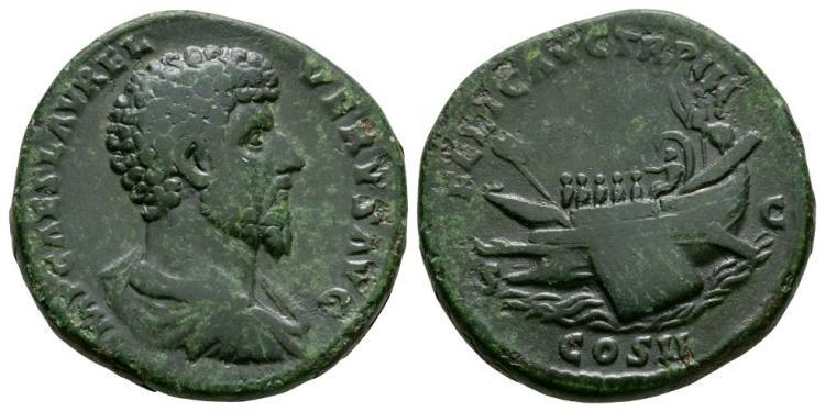 Ancient Roman Imperial Coins - Lucius Verus - Galley Sestertius