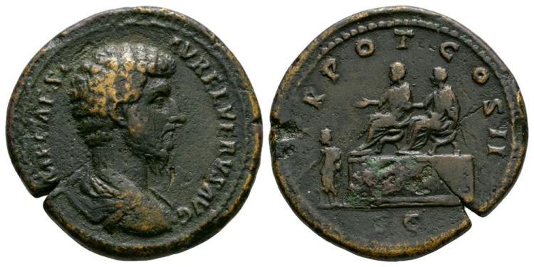 Ancient Roman Imperial Coins - Lucius Verus - Emperors on Platform Sestertius