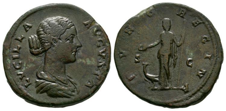 Ancient Roman Imperial Coins - Lucilla - Juno Sestertius