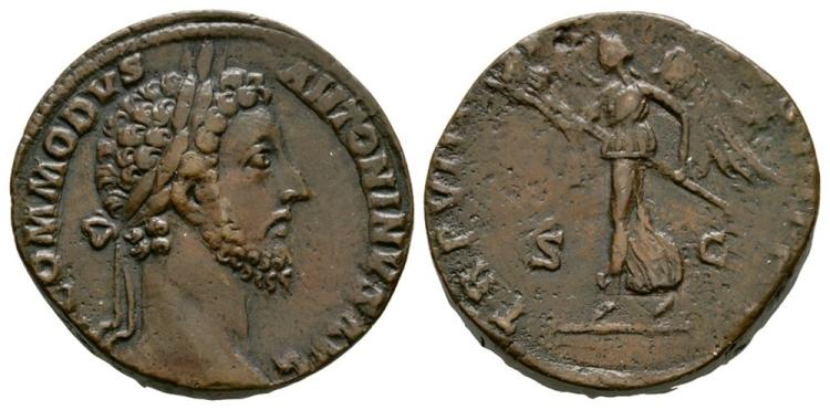 Ancient Roman Imperial Coins - Commodus - Victory Sestertius