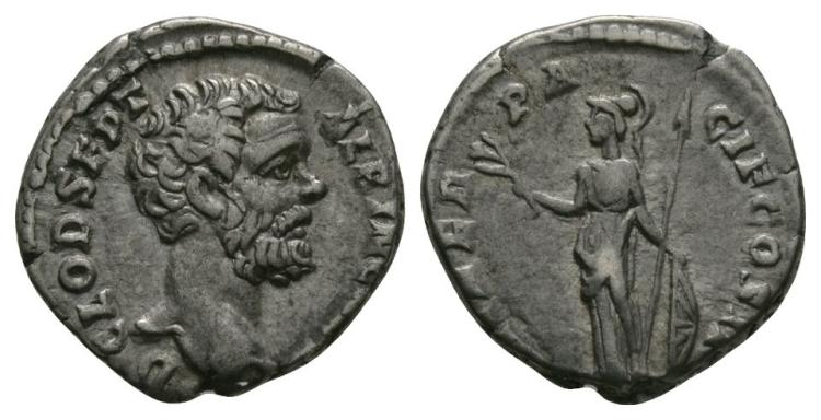 Ancient Roman Imperial Coins - Clodius Albinus - Minerva Denarius