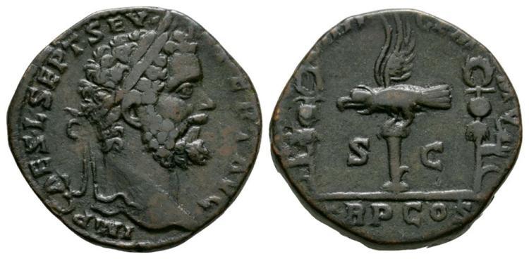 Ancient Roman Imperial Coins - Septimius Severus - Legion VIII Gemina Sestertius