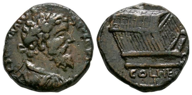 Ancient Roman Imperial Coins - Septimius Severus - Heliopolis - Temple Unit