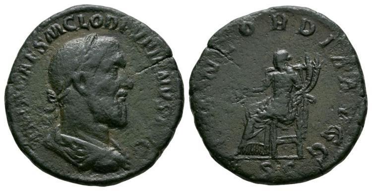Ancient Roman Imperial Coins - Pupienus - Concordia Sestertius