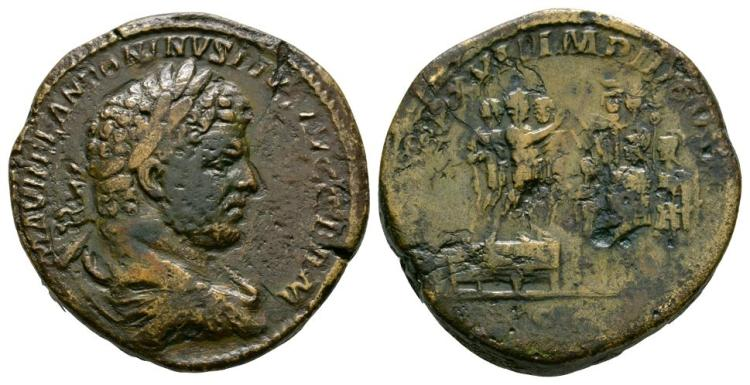 Ancient Roman Imperial Coins - Caracalla - Emperor Addressing Soldiers Sestertius