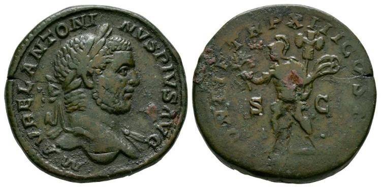 Ancient Roman Imperial Coins - Caracalla - Mars Sestertius